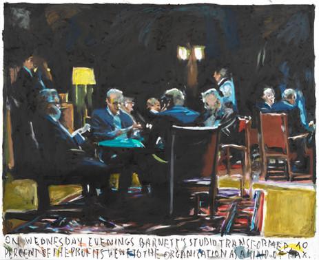 On Wednesday evening Barnet's studio transformed,..., 2020 oil pastel on paper 73,2 x 88,9 cm