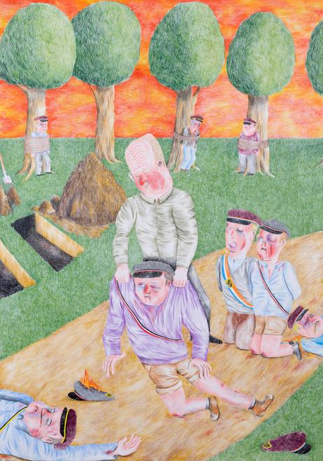 DENNIS TYFUS Eerst Onze Mensen, 2020 colored pencil on paper 100 x 70 cm