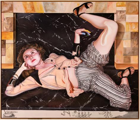 KATI HECK Simsalabumm, 2019  oil on canvas, artist frame  140 x 165 cm