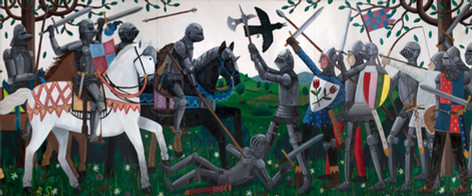 BEN SLEDSENS The Battle, 2018 200 x 480 cm  oil and acrylic on canvas, triptych