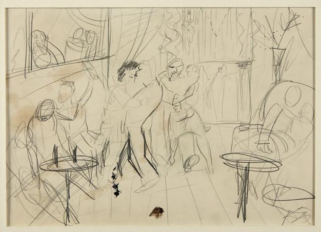 """OTTO DIX, Skizze zur Kriegsradierung """"Matrosen  in Antwerpen"""", 1923 - 1924"""