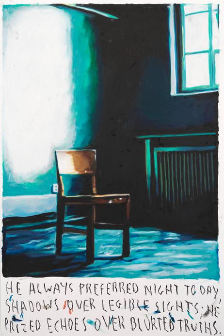 RINUS VAN DE VELDE He always preferred night to day,.., 2021 oil pastel on paper 110,2 x 73,2 cm