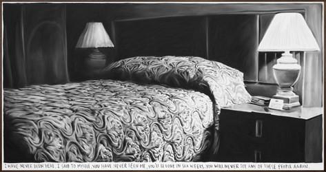 RINUS VAN DE VELDE I have never been here,..., 2020 charcoal on canvas, artist frame 140 x 268 cm