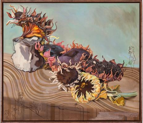 KATI HECK Briefkasten I, 2019 oil and crayon on canvas, artist frame 60 x 70 cm