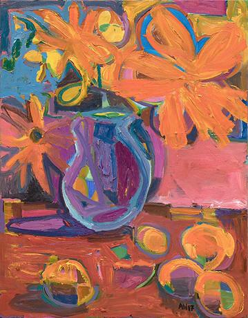 ANTON HENNING, Blumenstilleben mit Früchten, No. 90, 2017