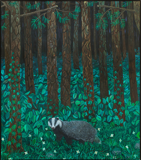 BEN SLEDSENS Badger in the Pine Woods, 2020-2021 oil and acrylic on canvas 195 x 170 cm