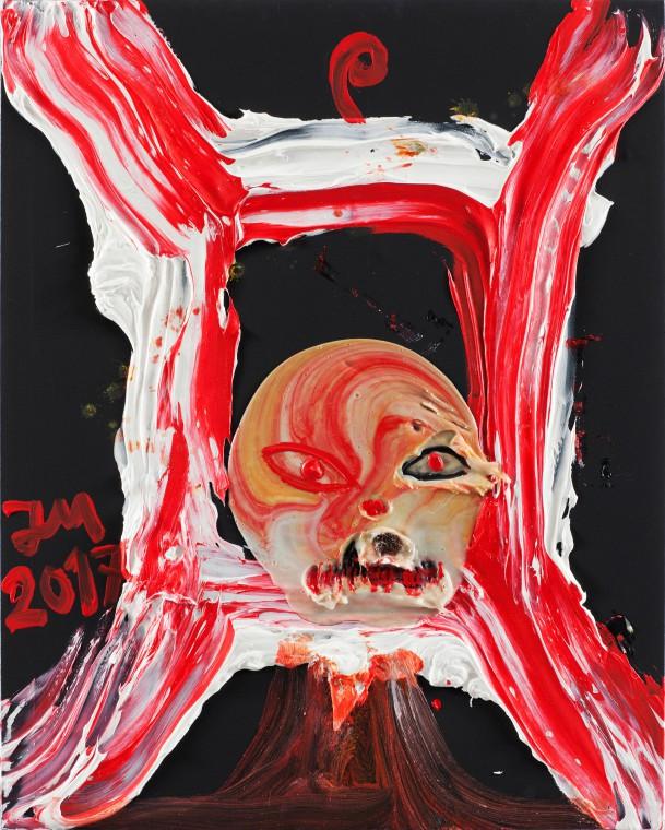 JONATHAN MEESE KUNSTBESTES BILD AUS DEM WELTENALL, 2017 100,5 x 80,3 x 3,3 cm  acrylic, acrylic modelling paste, Caparol-dispersionsbinder and mixed media on canvas