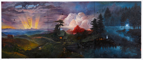 FRIEDRICH KUNATH One Minute You're Here, 2020-2021 oil on canvas (3 panels) 244 x 594 cm
