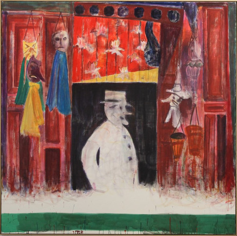 TAL R Souvenir shop, 2010 rabbit glue, pigment, wax crayon on canvas 200 x 200 x 4.5 cm