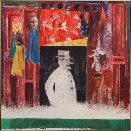 TAL R Souvenir shop, 2010 rabbit glue, pigment, wax crayon on canvas 200 x 200 x 4.5 cm
