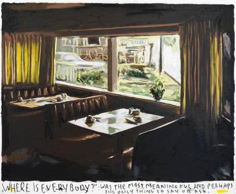 "RINUS VAN DE VELDE ""Where is everybody?"":..., 2021 oil pastel on paper 73,1 x 89,2 cm"