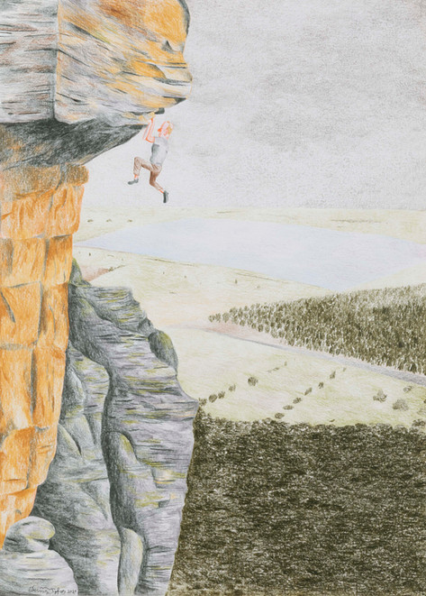 DENNIS TYFUS Hanging in there, 2020 colored pencil on paper 42 x 29,7 cm