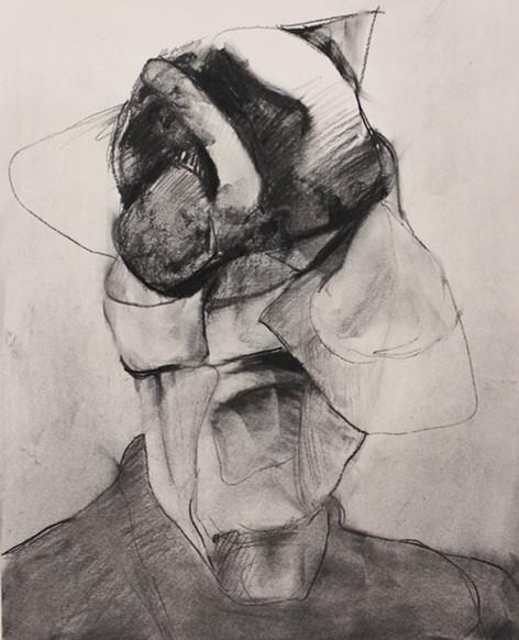 "ADRIAN GHENIE Study for ""Self-Portrait"", 2020 charcoal on paper 55 x 45 cm"