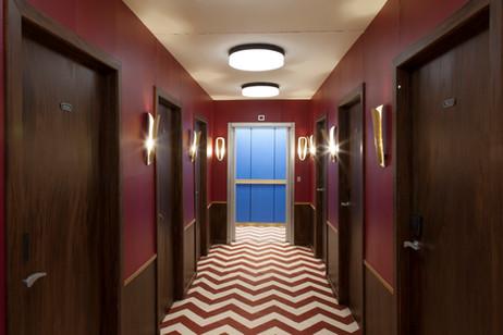 RINUS VAN DE VELDE Prop, Hotel Corridor, 2017 - 2019 cardboard, paint, wood and mixed media 250 x 840 x 180 cm