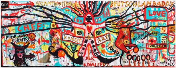 "JONATHAN MEESE DR. ""PUMP AWAY REALITY"" (HERZBUBE DE LARGE!), 2020 5 panels, acrylic on canvas 360 x 950 x 360 cm"
