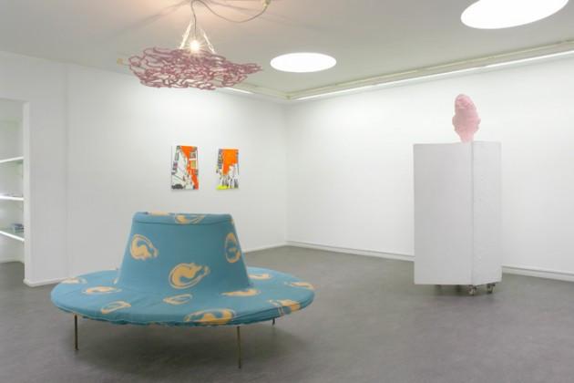 """FRANZ WEST: Pouf """"Kompliment"""", 2005 - Iron, Foam, Linnen, Cotton - 80 x 220 x 150 cm FRANZ WEST: """"Allzweckkasten"""", 1998 - Wood, 4 Rolls, Paper maché, Gauze, Plaster, Paint, Polyester - Closet: 174 x 45 x 66 cm Sculpture: 56 x 40 x 30 cm REINHARD BERNSTEINER: """"Seoul Graphics 9"""", 2005 - overpaint (acryl), photo on canvas - 70 x 50 cm REINHARD BERNSTEINER: """"Seoul Graphics 12"""", 2006 - overpaint (acryl), photo on canvas - 70 x 50 cm HEIRI HAEFLIGER: """"WAMP/LAMP"""", 2005 - papermâché, cable tie, light bulb Ø: ca.1,2m"""