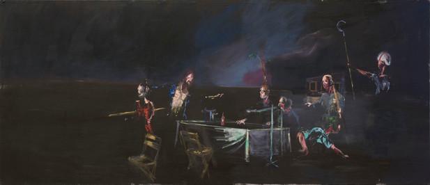 AARON VAN ERP Het laatste avondmaal van de Maarschalk waar enige onenigheid plaatsheeft omtremt de soep, 2011 oil on canvas 130 x 300 cm