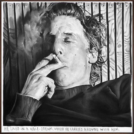 RINUS VAN DE VELDE He lived in a half-dream, which he carried around with him., 2021 charcoal on canvas, artist frame 150 x 150 cm
