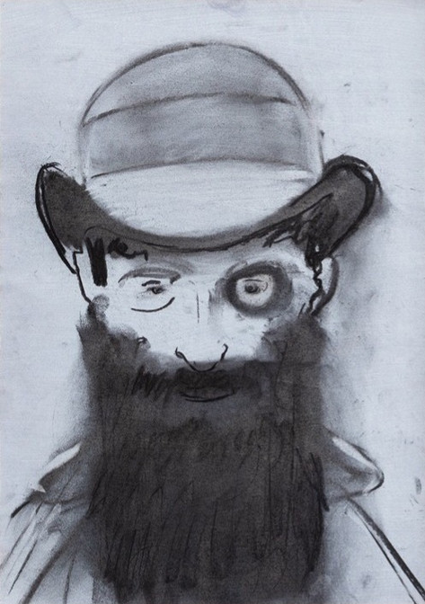 RYAN MOSLEY Man in a Bowler Hat, 2020 charcoal on paper 41 x 29,5 cm, 51 x 39,5 cm (framed)