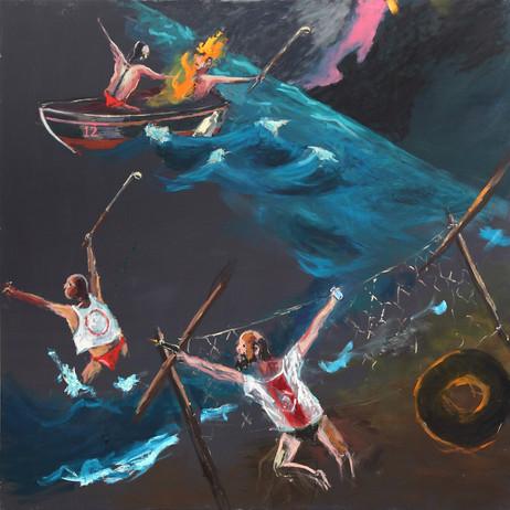 AARON VAN ERP Europacup strandminigolf, 2014 - 2015 oil on canvas 170 x 170 cm