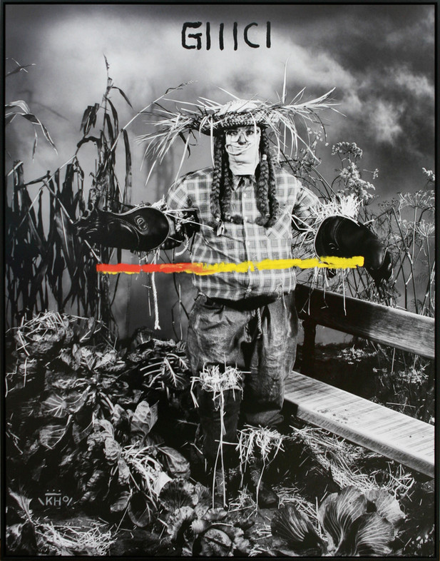 KATI HECK Neue Freunde (Orakel), 2019 oil and ink on photograph, artist frame 180 x 140 cm