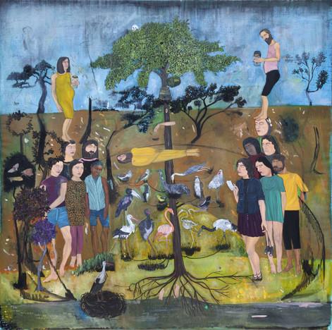 BRAM DEMUNTER Linking revelations and beekeeping, 2019 oil on canvas 150 x 150 cm