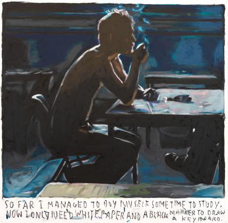 RINUS VAN DE VELDE So far I managed to buy myself some time to study,.., 2020 oil pastel on paper 73,3  x 74,5 cm