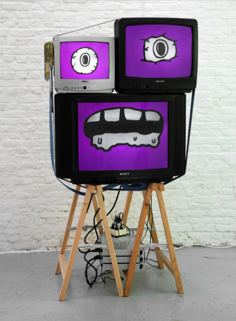 DENNIS TYFUS Rob Roskopf, 2008 animationfilms shown on TV screen, trestles (DVD, sound)