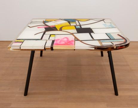 GELATIN Disko, 2019  wood, metal, epoxy resin  75 x 143 x 122 cm
