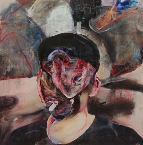 ADRIAN GHENIE Self-Portrait Smoking, 2020 oil on canvas 68 x 68 cm