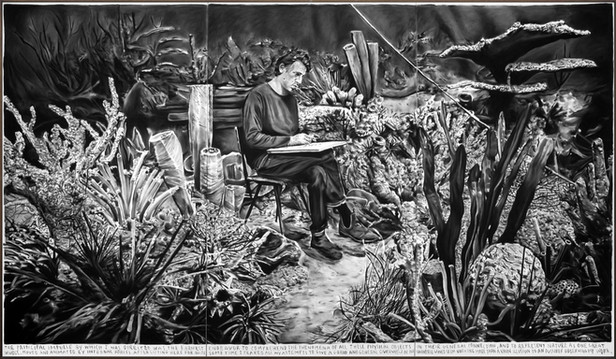 RINUS VAN DE VELDE The principle impulse ..., 2021 charcoal on canvas, artist frame 300 x 525 cm