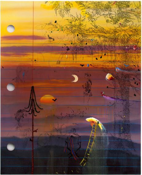 FRIEDRICH KUNATH N.O., 2018 acrylic, colored pencil, and oil on canvas, 152,4 x 121,9 cm