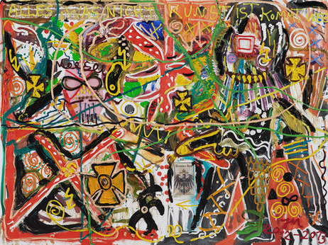 JONATHAN MEESE ICH SCHEISS' AUFM MARS II, 2013 210 x 280 x 3.3 cm 2 panels, oil, acrylic, acrylic modelling paste and mixed media on canvas