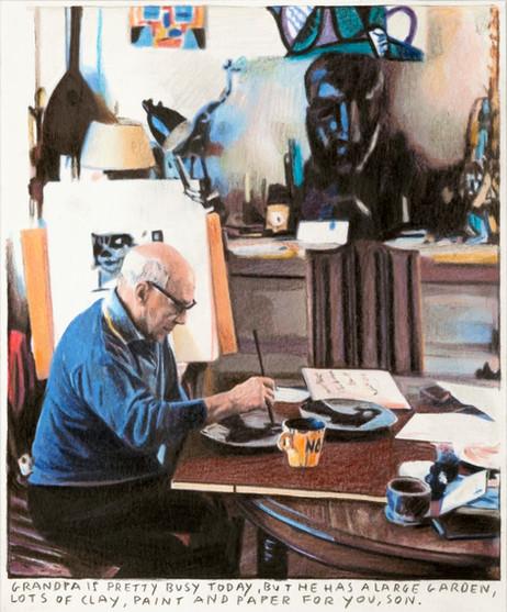 RINUS VAN DE VELDE Grandpa is pretty busy today, ..., 2019 colored pencil on paper, artist frame 20,8 x 16,7 cm