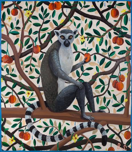 BEN SLEDSENS Ringtail Lemur, 2018 oil and acrylic on canvas 150 x 130 cm