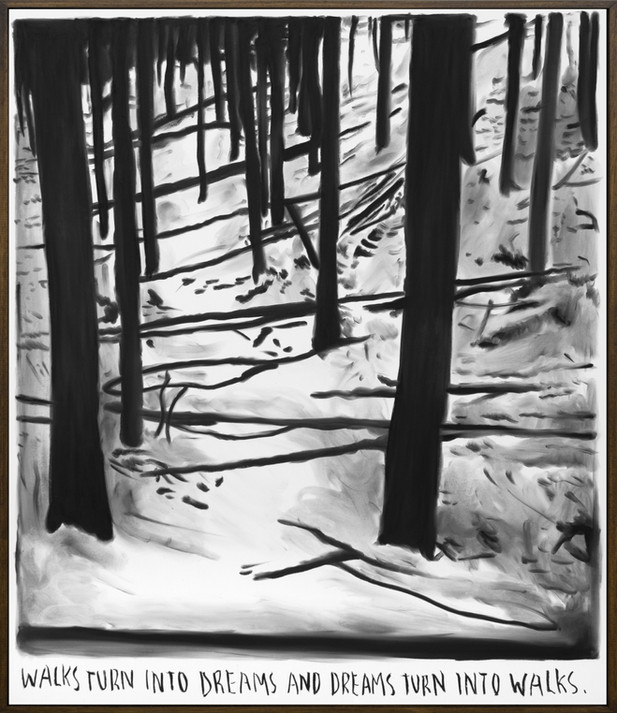 RINUS VAN DE VELDE Walks turn into dreams..., 2019 charcoal on canvas, artist frame 95 x 111 cm