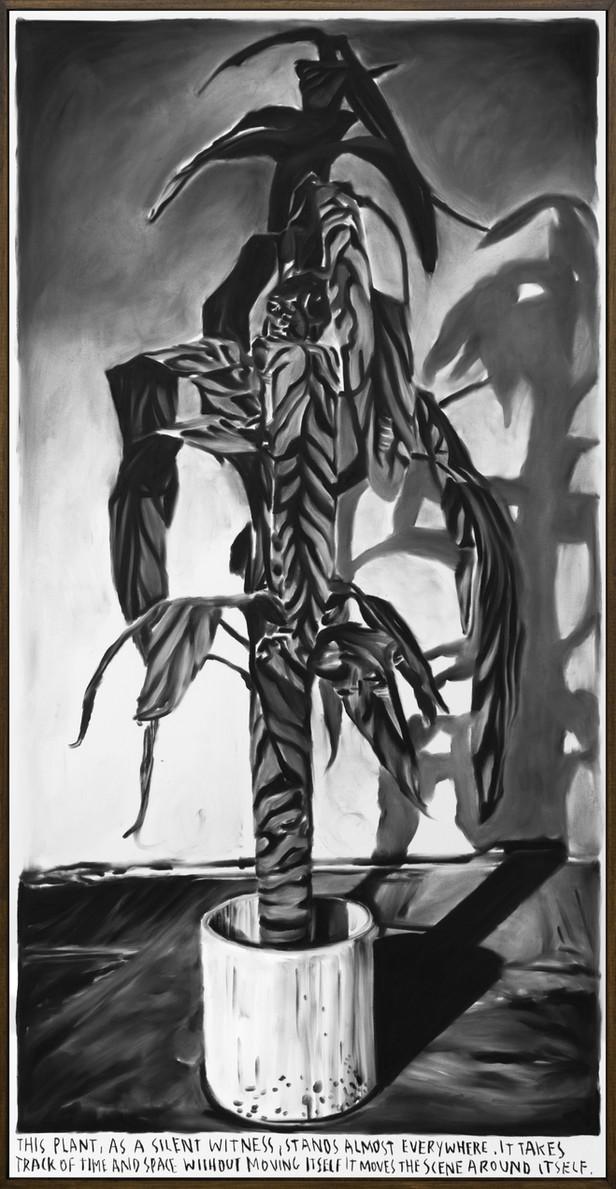 RINUS VAN DE VELDE This plant,..., 2019 charcoal on canvas, artist frame 200 x 100 cm