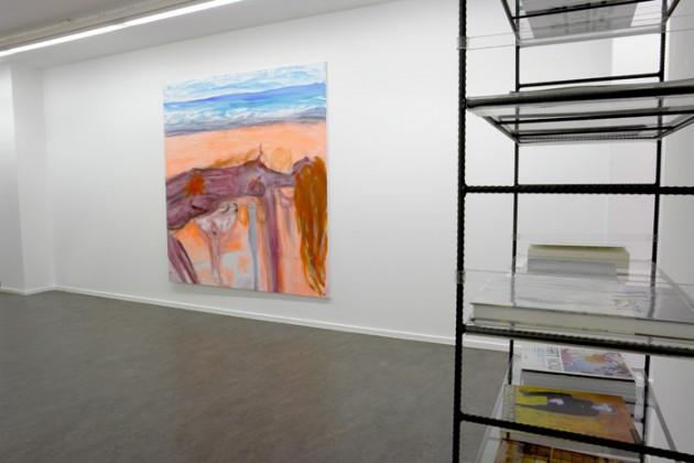 """TAMUNA SIRBILADZE: """"Got too much LA Sun"""", 2006 - 185 x 200 cm FRANZ WEST: """"Bookshelf"""", 1998 - Metal, Acrylic glass, Rolls - 185 x 60 x 35 cm"""