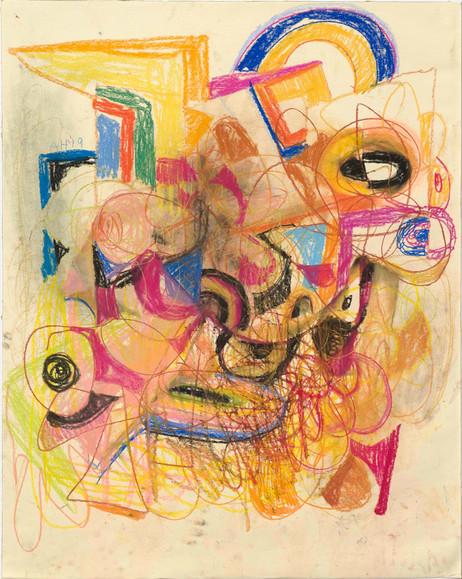 ANTON HENNING Skizze No. 3 für Pin-up, 2019 pastel and oil pastel on paper 107 x 85,5 cm, 134 x 111 x 4,5 cm (frame)