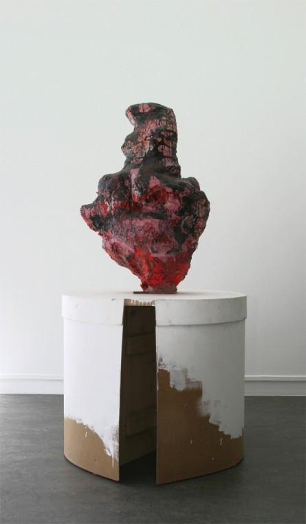 FRANZ WEST Voulez-vous coucher avec moi, 2002 papiermaché, PU-foam, lacquer + wood (cylinder pedestal) 86 x 48 x 60 cm, pedestal: 82 x 82 x 71 cm