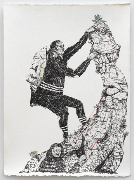 BRAM DEMUNTER All I need is a rock, 2021 Ink and color pencil on paper 34,4 x 25 cm