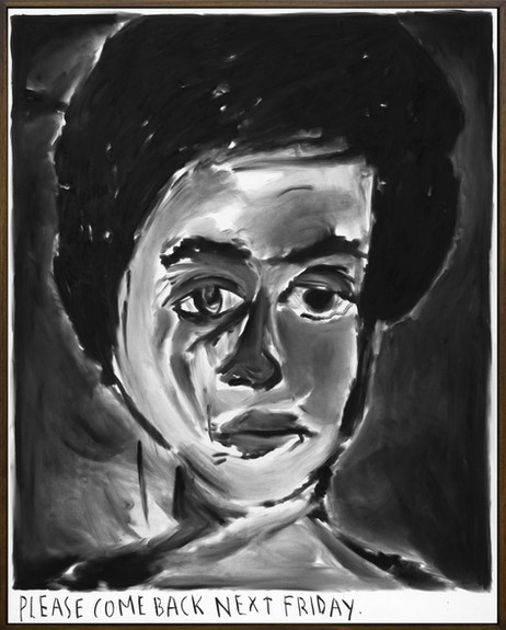 RINUS VAN DE VELDE Please come back, next friday., 2019 charcoal on canvas, artist frame 119 x 96 cm