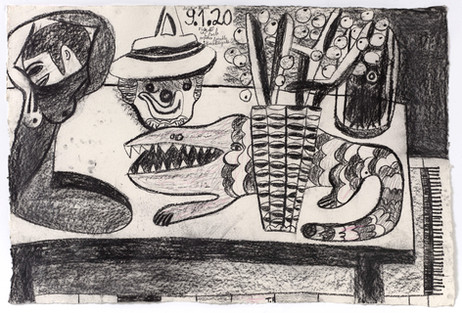TAL R E, Crocodile Street, tuesday, Titan, Menade, 2020 charcoal and crayon on paper 88 x 129 cm