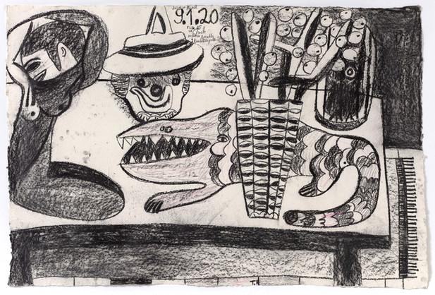 TAL R E, Crocodile Street, tuesday, Titan, Menade, 2020 charcoal and crayon on paper 88 x 129 cm