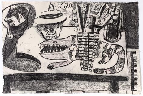 TAL R, E Crocodile Street, tuesday, Titan, Menade, 2020 charcoal and crayon on paper 88 x 129 cm