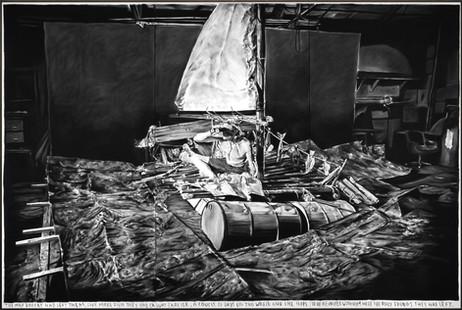 RINUS VAN DE VELDE The map Robert had left them,..., 2020 charcoal on canvas, artist frame 300 x 450 cm