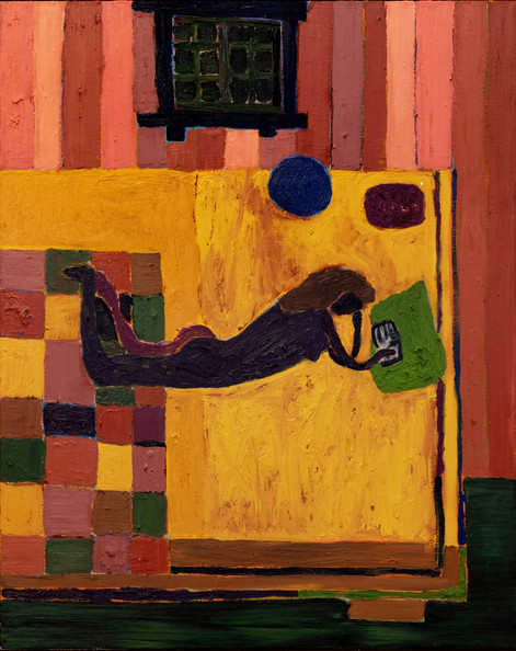 TAL R Girl reading B.S., 2018 oil on canvas 125,2 x 100,2 x 6 cm