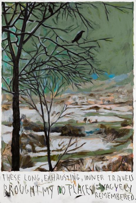 RINUS VAN DE VELDE These long, exhausting, inner travels..., 2021 oil pastel on paper 110,2 x 73,2 cm