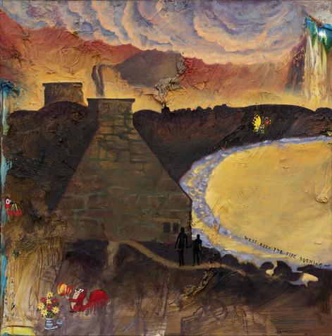 FRIEDRICH KUNATH We'll Keep The Fire Burning., 2019 oil on canvas, 91,44 x 91,44 cm