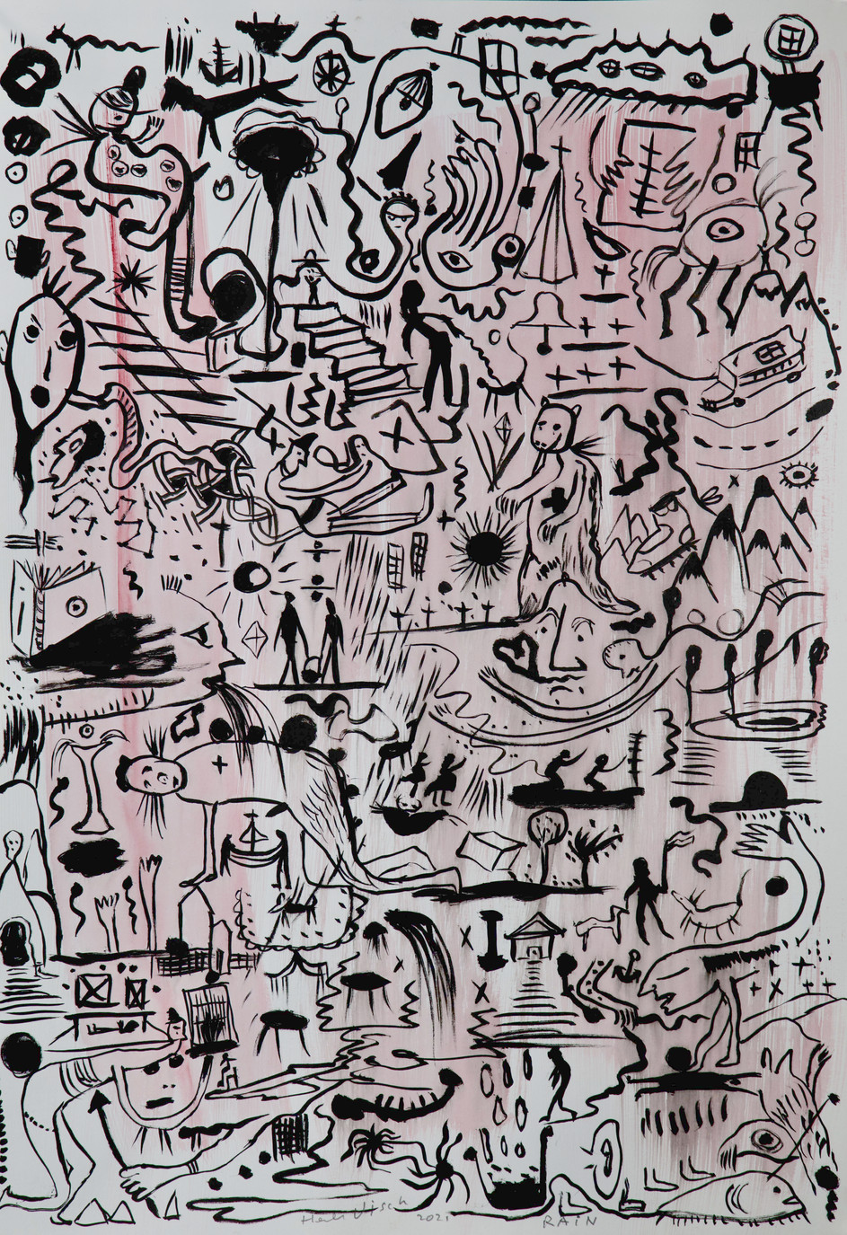 HENK VISCH Rain, 2021 water color, ink and pencil on paper 42 x 29,7 cm